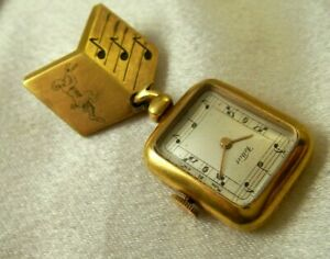 Antique Pin Pocket Watch Gold Plated 15J Musical Theme Uniquely Designed Rare