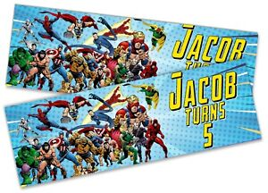 x2 Personalised Birthday Banner Avengers Children Kids Party Decoration Poster 1