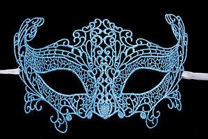 Maschera Di Venezia IN Pizzo Di Burano-Lupo Zibetto Carnevale- Blu Argentato 46