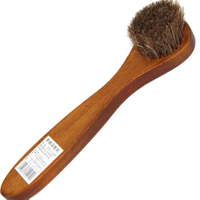 Long Handle Wood Bristle Horse Shoe Hair Brush Boot Polish Shine Dauber FH