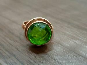Round-faceted-peridot-quartz-925-Sterling-Silver-Rose-Gold-Handmade-Ring