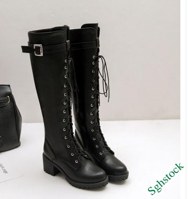 Roman Gladiator Women's Lace Up Faux Leather Platform Knee High Boots shoes