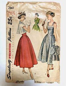 Vintage 1950s SIMPLICITY Sewing Pattern Dress Sundress Bolero Crop Jacket sz 12