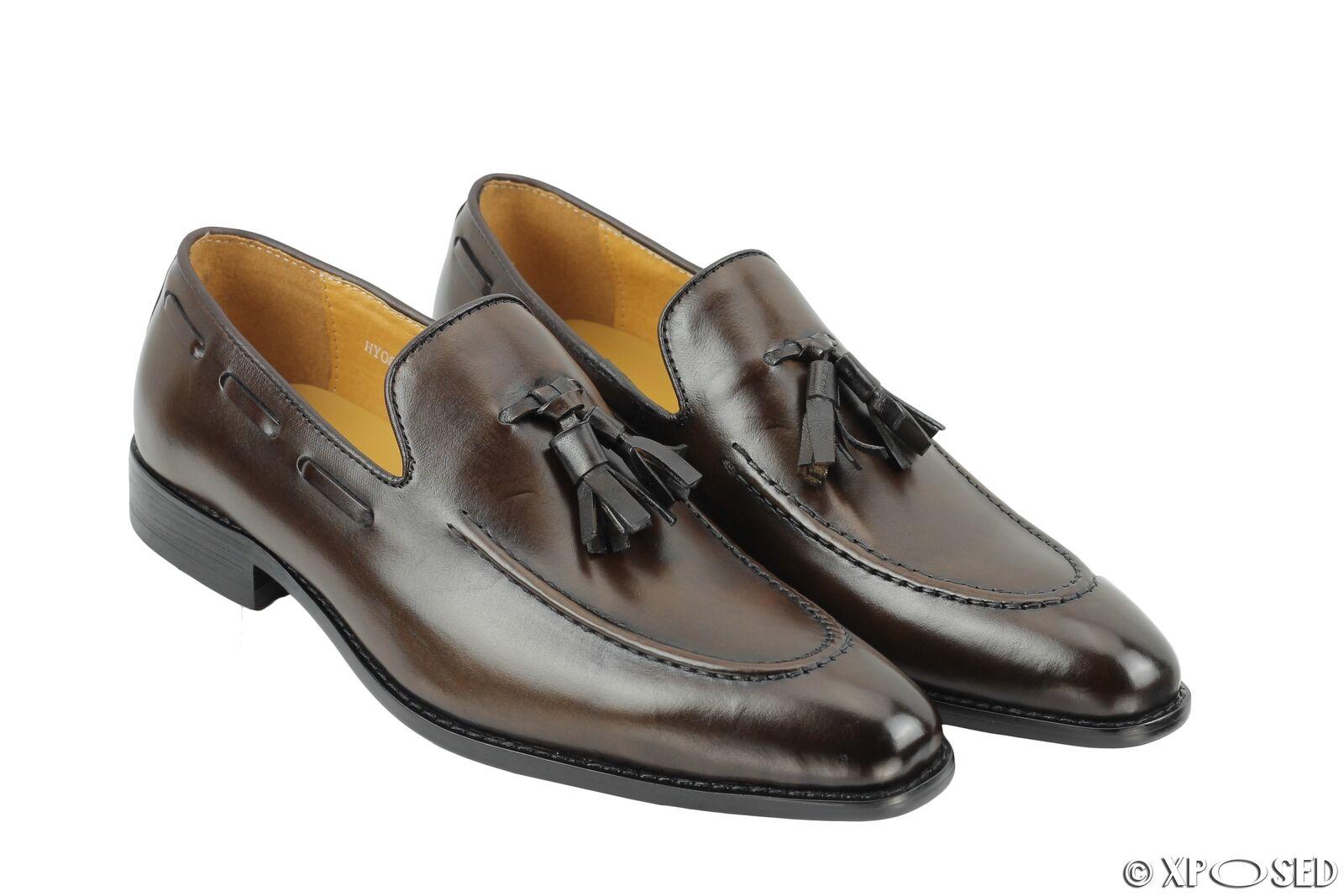 Herren Smooth Polished 100% Real Leder Braun Tassel Loafer Dress Schuhes UK Größes