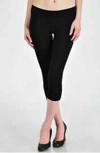 womens capri legging elastic waist solid 3/4 cropped thick