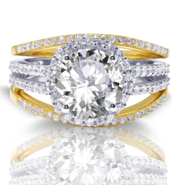 14k Gold Brillant Klar Zirkonia Rund Hochzeit Verlobung Silber Drei Ring Set