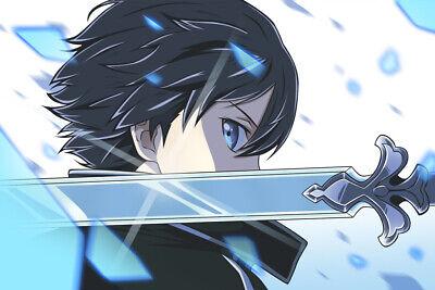 Sword Art Online Kirito Poster Print Wall Decor Anime Fan Art Large 24x16 Inch Ebay