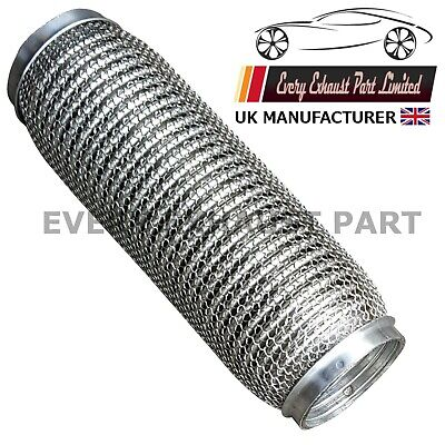 """53mm x 10/"""" 53mm x 250mm Exhaust Flexipipe Decat Pipe Clamp-on Flexi Joint"""