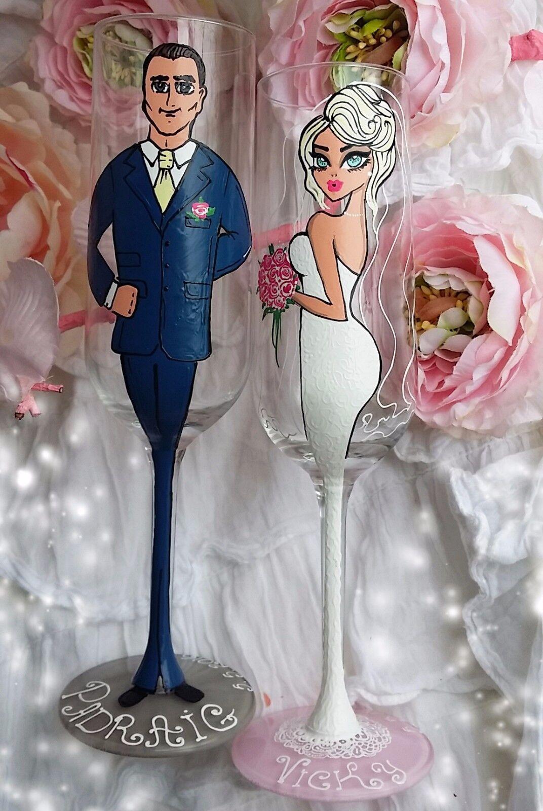2 dipinti a mano personalizzato Flute Champagne Champagne Champagne Vino in vetro regalo di nozze sposa sposo. 814789