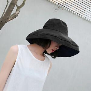 e84427b32 Details about Women Vacation Wide Brim Beach Hat Foldable Bucket Hat large  Brim Cap Sun Hat US