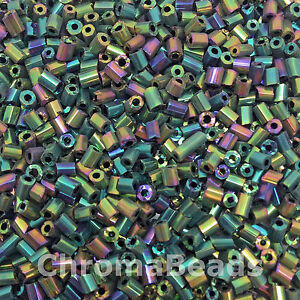 50g-glass-HEX-seed-beads-Green-amp-Multicolour-Iris-size-11-0-approx-2mm-2-cut