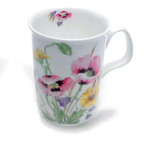 Roy-Kirkham-English-Meadow-Pink-Poppy-Design-Bone-China-Mug-Traditional-Drink