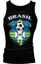 Brasil Shield Brazil Brazilian Flag Crest Soccer Olympics Ladies Beater Tank Top