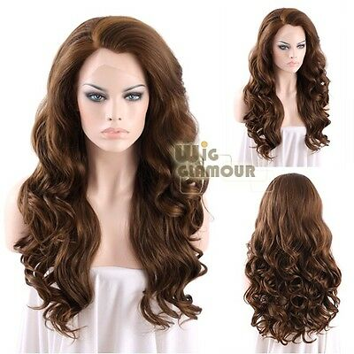 """Long Curly Wavy 24"""" Medium Brown With Golden Brown Lace Front Wig Heat Resistant"""