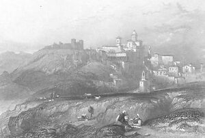 Sicily, Enna TOWN & CONVENT OF PIAZZA ARMERINA ~ Old 1842 Art Print Engraving