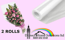2 FLORIST CLEAR FILM CELLOPHANE GIFT WRAP ROLL 100m 80cm 35Mic NEXT DAY DELIVERY