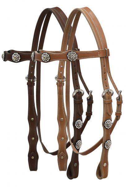 WESTERN SADDLE HORSE BLING BRIDLE HEADSTALL W  5' SPLIT REINS MEDIUM OR DARK OIL