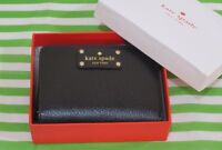 Kate Spade Wellesley Cara Leather Zip Around Wallet Givernyblu Black New+box