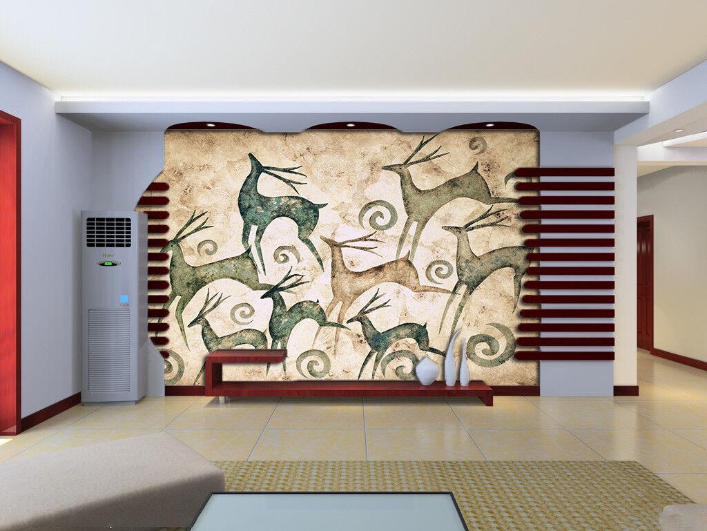3D Hand-Painted Deer 7 Wall Paper Murals Wall Print Wall Wallpaper Mural AU Kyra