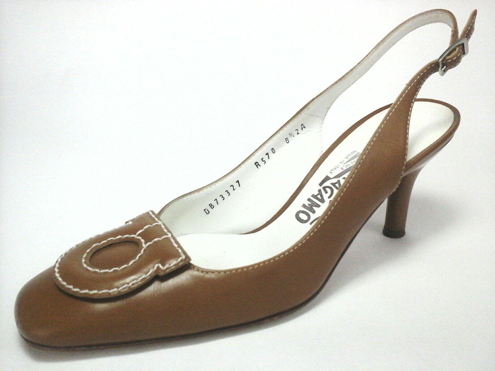SALVATORRE FERRAGAMO Heels Pumps Tan Brown GANCINI BIT US 8 8.5 AA EU.39  675