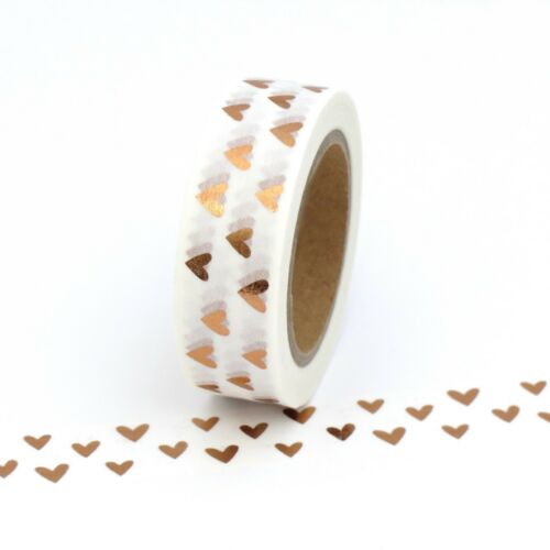 Washi Tape Rose Gold Foil Hearts Gilded Copper Valentines 15mm x 10m