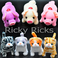 Walking Pig Cat Toy Plastic Piggy Kitty Furry Cute Mechanical Plush Gift