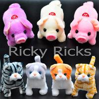 Walking Pig Cat Toy Plastic Piggy Kitty Furry Cute Mechanical Plush Gift