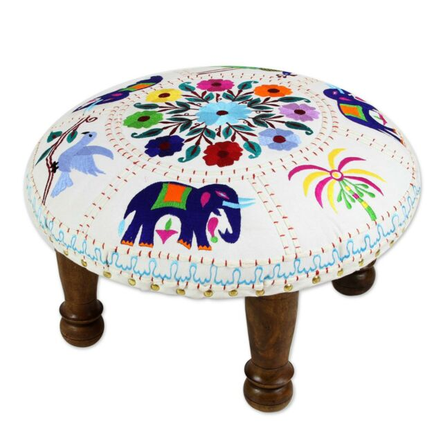 Cotton Foot Stool 'Floral Fauna' Multi Color Embroidery NOVICA India