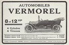 PUBLICITE  AUTOMOBILE VERMOREL 8 et 12 HP  CAR   AD  1913 -1H