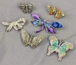 Broche-Vintage-Trabajo-Lote-Mariposa-y-Arco-Broches-filigrana-plata-esmalte-incluye