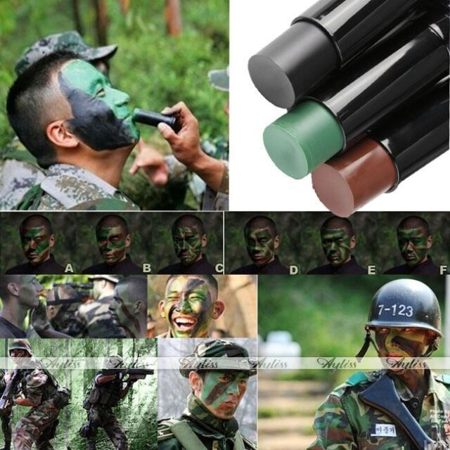Military Camo Face Paint Stick Camouflage Make Up Kit Coloring Paintbal Woodland