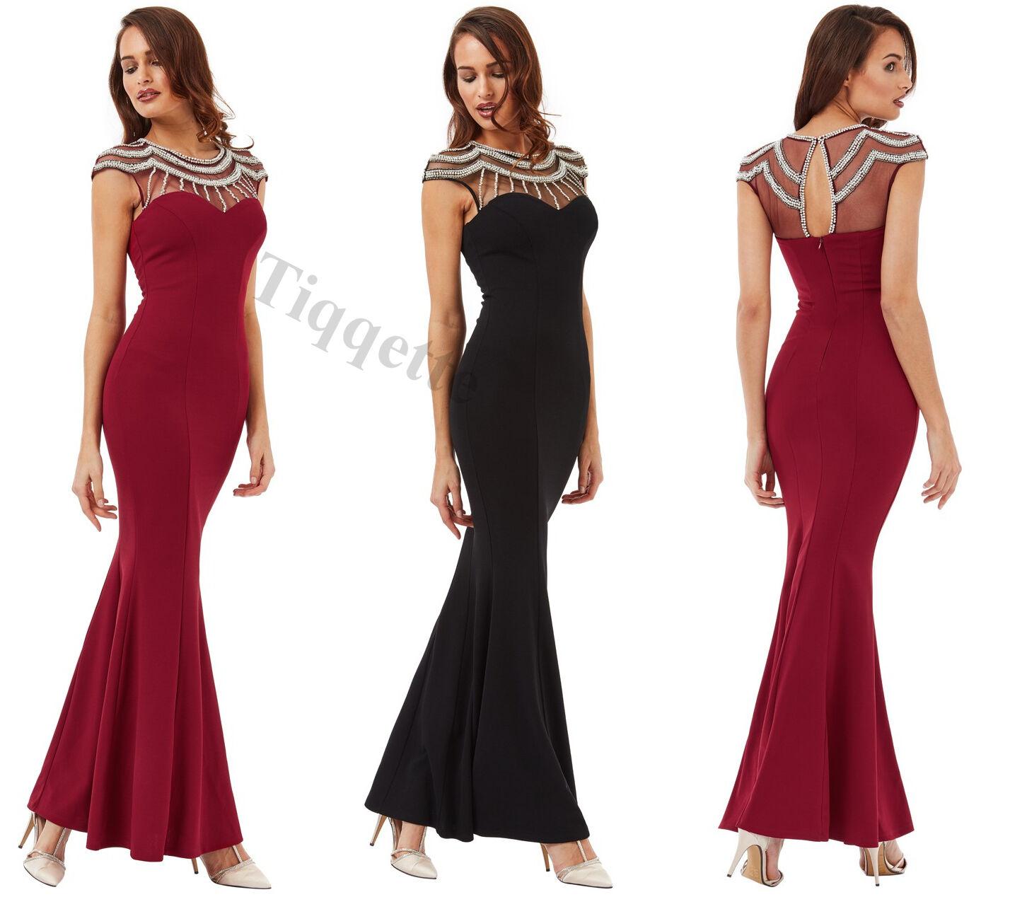 1c11fa10a80 Goddiva Embellished Maxi Dress in Colours Fishtail Great nhlrvy19699-Dresses