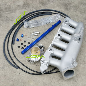 for-Nissan-R32-R33-RB25DET-Intake-Manifold-Fuel-Rail-80mm-Throttle-Body-Silver