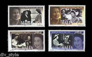Queen Elizabeth II Coronation 50th Anniv set of 4 mnh stamps + Souv sheet Malta