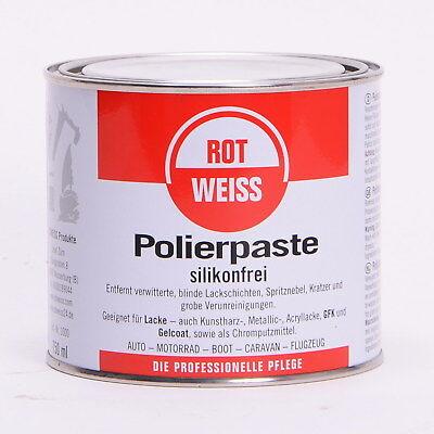 ROTWEISS Polierpaste Silikonfrei für Autolack und Chrompolitur 750ml  RW750