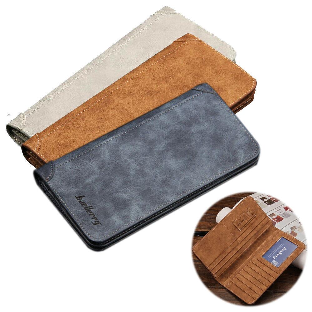 Men's Leather Long Purse Credit Card Clutch ID Holder Bifold Slim Wallet Handbag