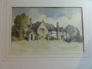 Original-old-Watercolour-painting-Landscape-of-Ludlow-Shropshire-by-A-D-Houghton