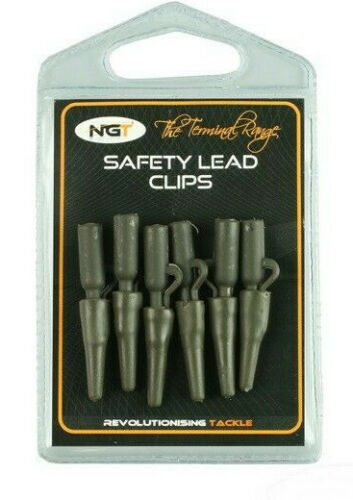 SAFETY LEAD CLIPS WITH TAIL RUBBERS X 6 NGT