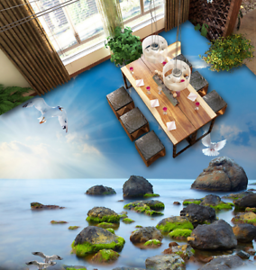 3D Seagull Stones Sea 65 Floor WallPaper Murals Wall Print Decal AJ WALLPAPER