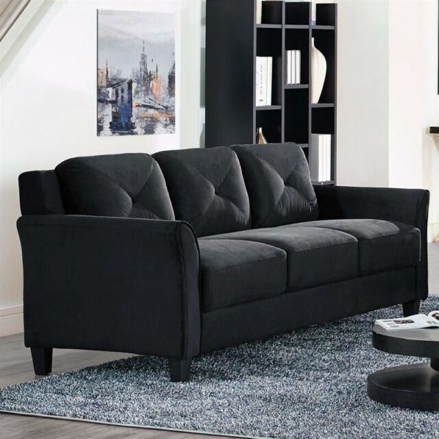 Lifestyle Solutions Hartford Microfiber Sofa In Black