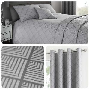 Serene-WILMSLOW-Art-Deco-Grey-Jacquard-Woven-Bedding-Curtains-amp-Cushions