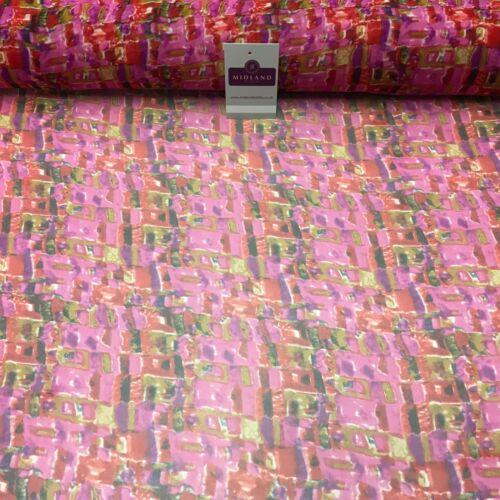 Cerise Imprimé Mosaïque Crêpe Mousseline Robe Tissu 150 cm large MK1190-14 Mtex