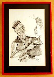 VIETNAMESE-INK-DRAWING-ON-SILK-Smiling-Man-Holds-Fish-amp-Basket-Signed-BEKY