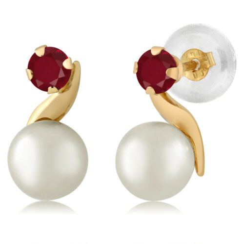 14K Yellow Gold 0.28 Ct Round 3mm Red Ruby Cultured Freshwater Pearl Earrings