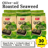 Korean Food Seaweed Roasted Nori Laver Olive-oil Kim Gim Sushi 10sheets-30packs