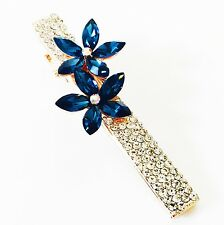 QUALITY Hair Clip Claw using Swarovski Crystal Hairpin Flower Gold Blue 3