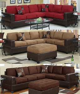 Image Is Loading Sectional Sofa Furniture Microfiber Sectional Couch 2 Pc