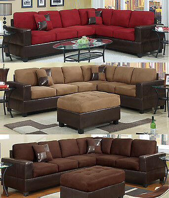 Sectional Sofa Furniture Microfiber Sectional Couch 2 Pc Living room Set 3 Color
