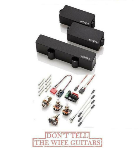EMG PJX SET BLACK P /& J PRECISION JAZZ BASS ACTIVE PJ PICKUP SET /& WIRING PJ-X