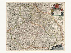 Old Antique Decorative Map of Bohemia Silesia Moravia de Wit ca. 1682
